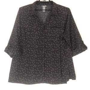 Catherines 3/4 sleeve button blouse top A0725